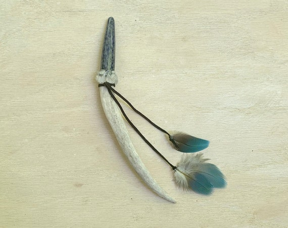 Special Order for Desiree - Deer Antler, Lapis Lazuli, Rainbow Moonstone Hair Pick, Magic, Shamanic Tool, Healing, Hair Pic Hair Jewelry
