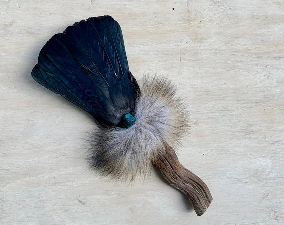 Jackdaw, Ayahuasca, Chrysocolla, Fox Clearing Smudge Fan, Native American, Ceremonial, OOAK, Intuition, Grounded, Healing, Reiki
