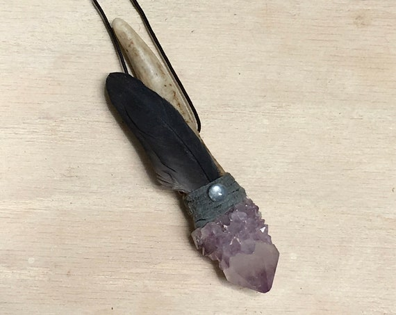 Deer Antler, Amethyst Spirit Quartz, Moonstone Shamanic Traveling Healing Wand, Magic, Crown Chakra, OOAK Jewelry, Native American, Reiki