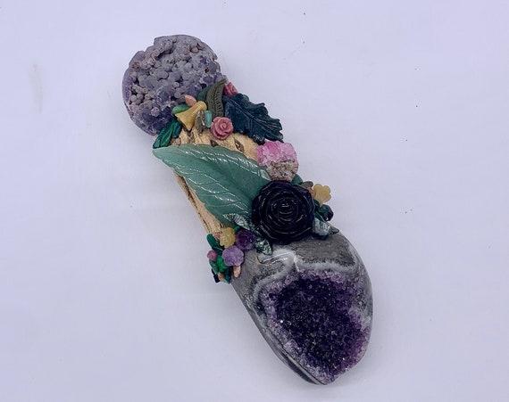 Cholla Cactus, Amethyst Druzy, Grape Agate, Sustone, Moss Agate, Seraphinite Fairy Garden, Shamanic Healing Wand Magic, Medicine Tool