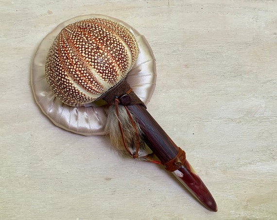Sea Urchin, Cocolobo, Mookaite, Amber, Garnet, Fox Shamanic Rattle, Healing, Shaker, Native American OOAK