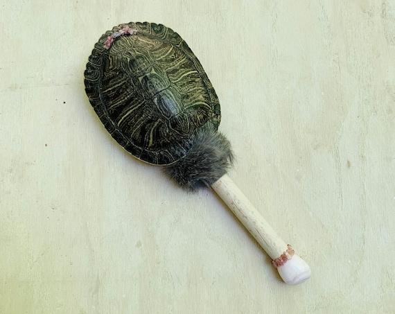 Turtle Rattle, Buckeye Maple, Mango Calcite, Rhodochrosite, Pink Tourmaline, Beaver Healing, Shaman Rattle, Shaker, Ceremonial, Native, OOAK