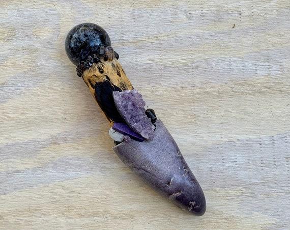 Cholla Cactus, Lepidolite, Merlinite, Amethyst, Charoite, Elestial Quartz, Sugilite, Garnet Shamanic Healing Wand Magic, Medicine Tool
