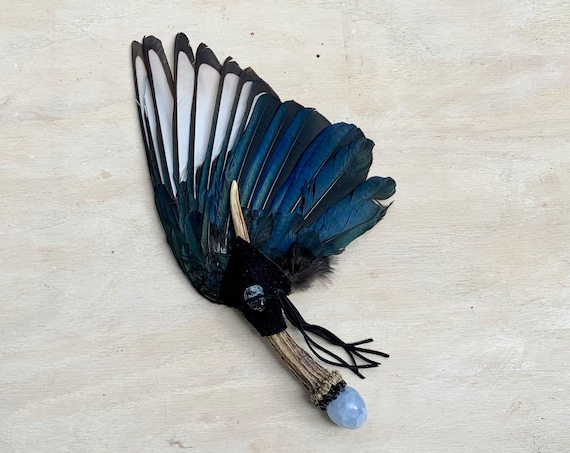 English Magpie, Antler, Blue Calcite, Blue Topaz, Apache Tears  Clearing Smudge Fan, Native American, Ceremonial, OOAK, Throat Chakra