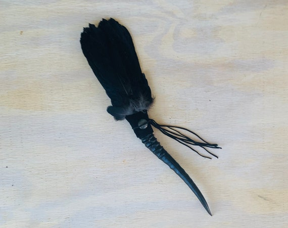 Crow Smudge Fan, Antelope, Labradorite, Clearing Smudge Fan, Native American Ceremonial Feathers, Medicine Tool, OOAK, Intuition