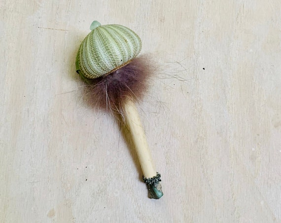 Shaman Rattle, Sea Urchin, Opal, Pyrite, Prehnite, Raccoon Fur, Healing, Shaker, Journey,  Native American, OOAK