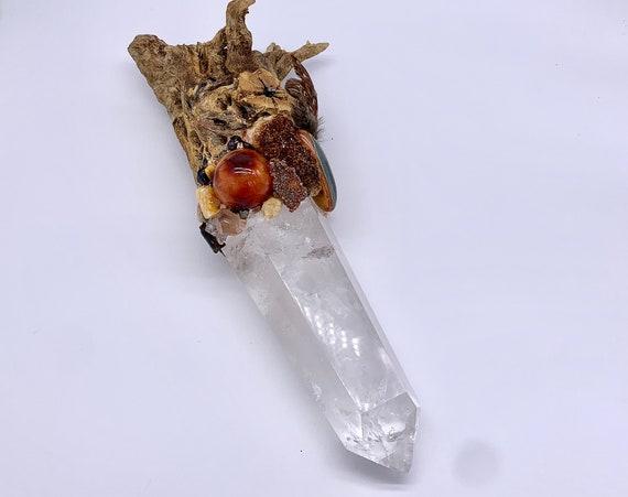Cholla Cactus, Quartz, Carnelian, Imperial Topaz, Amber, Apophyllite, Smoky, Calcite, Vandanite,Shamanic Healing Wand Magic, Medicine Tool