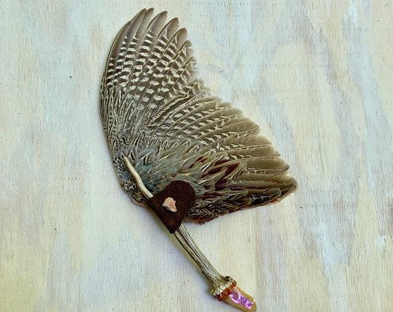 Pheasant, Deer Antler, Sunstone, Sunset Aura Quartz, Carnelian Clearing Smudge Fan, Native American, Ceremonial, OOAK, Grounding