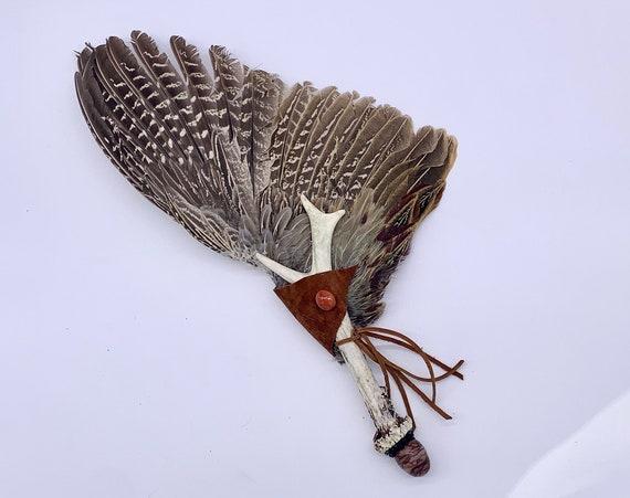 Pheasant Smudge Fan, Antler, Red Jasper Carnelian, Apache Tears Clearing Fan, Ceremonial Feathers, Medicine, OOAK, Root Chakra, Protection