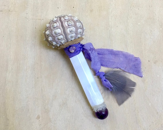 Sea Urchin, Selenite, Quartz, Amethyst, Charoite Shamanic Healing Rattle, Shaker, Chakra Alignment, Forgiveness Native American, OOAK