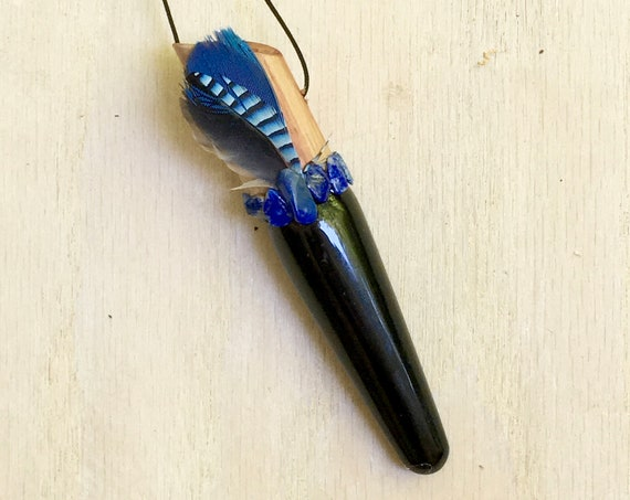 Tulipwood, Black Obsidian, Lapis Lazuli Shamanic Traveling Healing Wand, Intuition, Throat Chakra, Reiki, OOAK Jewelry Native American