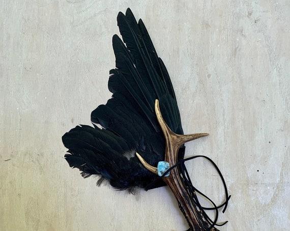 English Crow Fan, Deer Antler, Larimar, Blue Calcite, Black Tourmaline Shamanic Clearing Ceremonial Feathers, Medicine, OOAK Magic