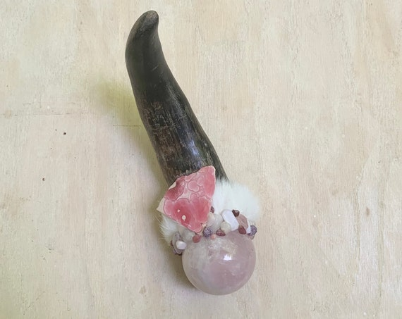 Bull, Rose Quartz, Rhodochrosite, Pink Tourmaline, Pink Opal, Kunzite, Morganite Shamanic Healing Tool Magic Wand, Native American OOAK