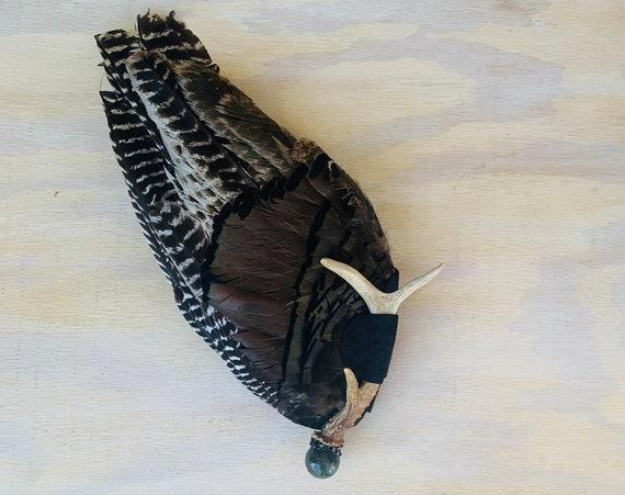 Turkey Smudge Fan, Deer Antler, Labradorite, Hypersthene Shamanic Clearing Fan, Native Ceremonial, Sacred Wing Medicine Fan
