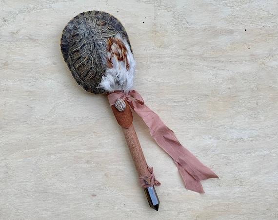 Turtle, Leopard Wood, Tiger Eye, Leopard Skin Jasper, Pietersite Healing, Shaman Rattle, Shaker, Ceremonial, Self-Love, Native American OOAK