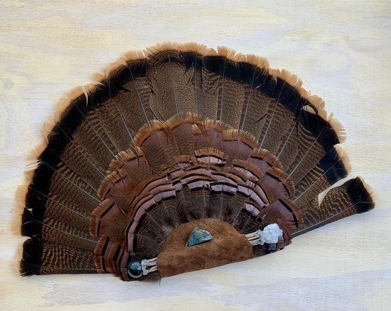 Turkey, Cholla Cactus, Celestite, Hawk Eye, Gray Moonstone, Labradorite Clearing Smudge Fan, Native American, Ceremonial, OOAK Heart Chakra