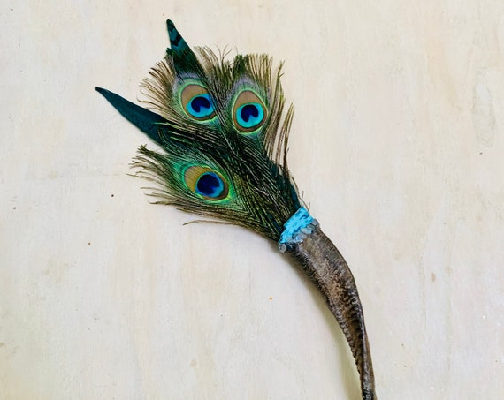 Peacock Smudge Fan, Ram, Chrysocolla, Grey Rainbow Moonstone, Clearing Feathers Smudge, Ceremonial, OOAK