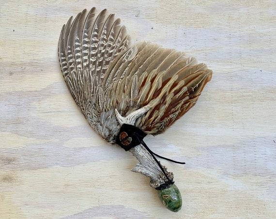 Pheasant, Deer Antler, Rhyolite Rainforest Jasper, Ammonite, Apache Tears Clearing Smudge Fan, Native American, Ceremonial, OOAK,