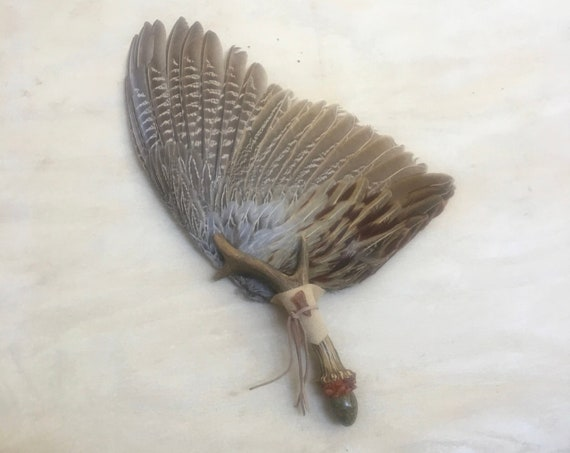Deer Antler, Pheasant, Carnelian, Amber, Unakite Clearing Smudge Fan, Native American, Ceremonial, Reiki, OOAK, 3rd Eye Chakra