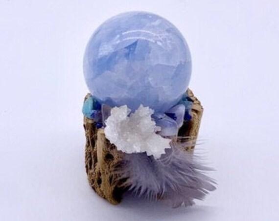 Cholla, Calcite, Aragonite, Chalcedony, Agate, Azurite, Larimar, Shamanic Traveling Magic Wand, OOAK, Healing Pendant, Fetish, Talisman