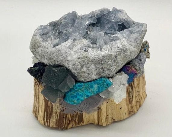 Palo Santo, Celestite, Fluorite, Chrysocolla, Apophyllite, Quartz, Azurite, Calcite, Galena, Turquoise, Shamanic Healing Altar Piece
