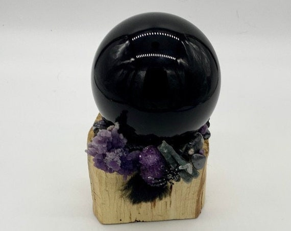 Palo Santo, Black Obsidian, Grape Agate, Amethyst Druzy, Onyx, Black Chalcedony, Black Jade  Shamanic Healing Wand of Light, Orb of Light