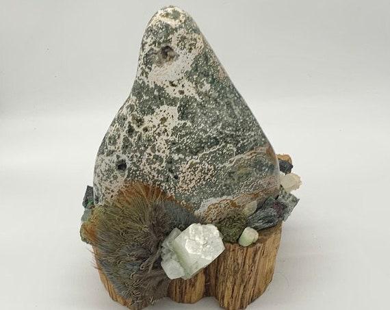 Palo Santo, Jasper, Apophyllite, Epidote, Ruby Zoisite, Peridot, Fluorite, Chyrsophase, Tourmaline, Hiddenite, Shamanic Healing Altar Piece