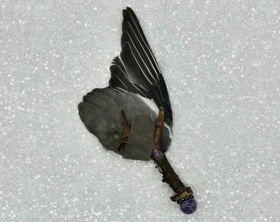 Pigeon Smudge Fan, Deer, Charoite, Snowflake Obsidian, Sugilite, Shamanic Clearing, Native American, Ceremonial Feathers, OOAK Grounding