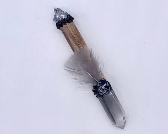 Cherry Wood, Grey Lithium, Galena, Snowflake Obsidian, Hypersthene, Turkey Feather, Shamanic Healing Wand Magic, Medicine Tool