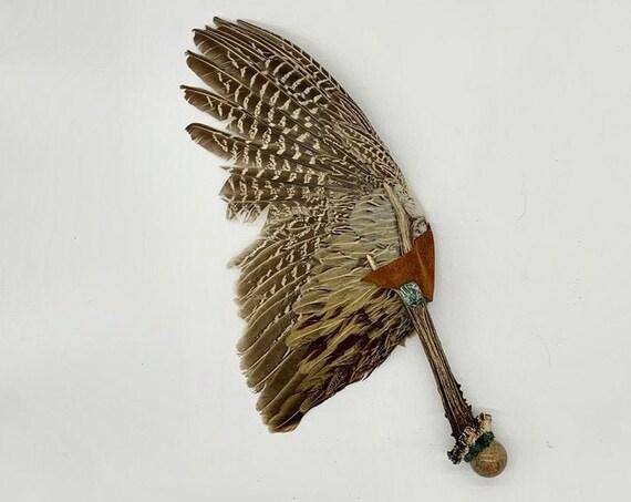 Pheasant Feathers, Deer Antler, Unakite Sphere, Bloodstone, Seraphinite, Shamanic Healing Smudge Fan, Medicine Tool, OOAK