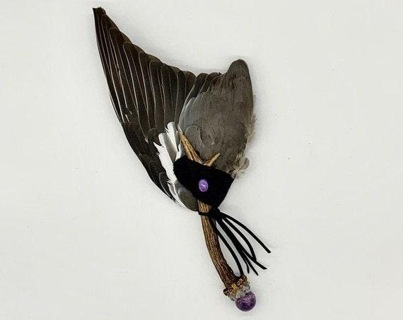 Deer Antler, Pigeon Feathers, Lepidolite, Gray Rainbow Moonstone, Charoite, Shamanic Healing Smudge Fan, Medicine Tool, OOAK