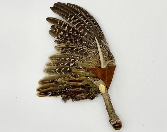 Pheasant Feathers, Deer Antler, Tiger Eye Sphere, Sunstone, Yellow Jasper, Shamanic Healing Smudge Fan, Medicine Tool, OOAK