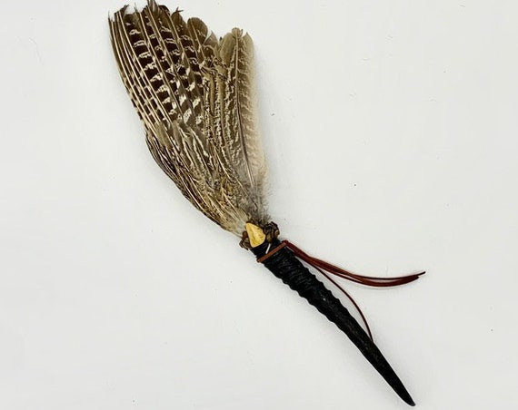 Antelope Horn, Pheasant Feathers, Yellow Jasper, Tiger Eye, Shamanic Healing Smudge Fan, Medicine Tool, OOAK
