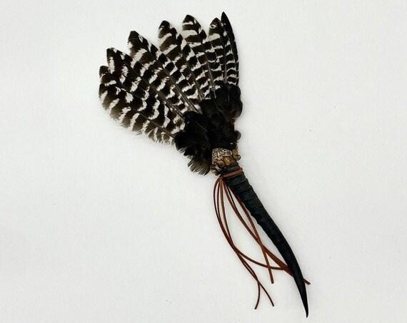 Antelope Horn, Turkey Feathers, Leopard Skin Jasper, Tiger Eye, Shamanic Healing Smudge Fan, Medicine Tool, OOAK