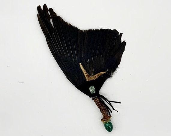 Crow Feathers, Deer Antler, Malachite, Peridot, Seraphinite, Shamanic Healing Smudge Fan, Medicine Tool, OOAK