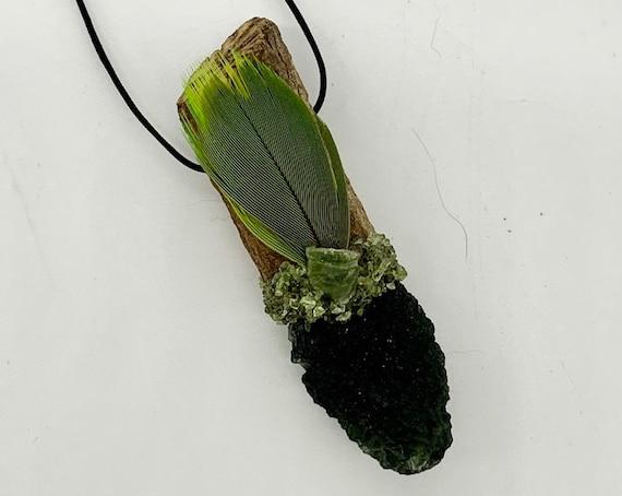 Moldavite, Ayahuasca Medicine, Green Tourmaline, Peridot, Macaw Medicine, Shamanic Traveling Magic Wand, OOAK Healing