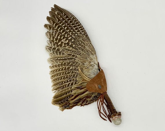Pheasant Feathers, Deer Antler, Citrine Sphere, Sunstone, Turritella Agate, Shamanic Healing Smudge Fan, Medicine Tool, OOAK