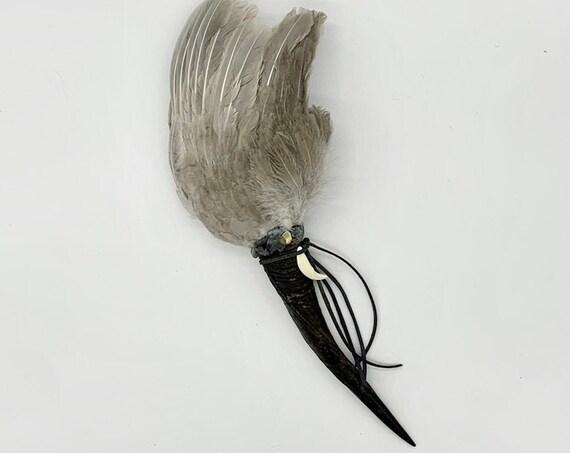 Ram Horn, Hen Feathers, Hematite, Labradorite, Shamanic Healing Smudge Fan, Medicine Tool, OOAK