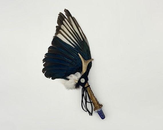 Magpie, Deer Antler, Lapis Lazuli, Blue Lace Agate, Quartz, Shamanic Healing Smudge Fan, Ceremonial Feather, Medicine Tool, OOAK