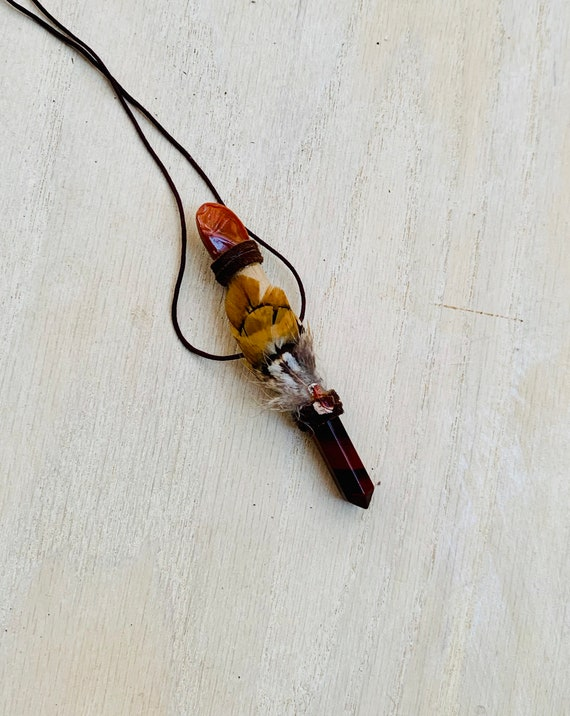 Rosewood, Tiger Eye, Red Jasper, Mexican Fire Opal Shamanic Traveling Wand, OOAK, Healing Pendant, Solar Plexus Sacral Root Chakra, Talisman