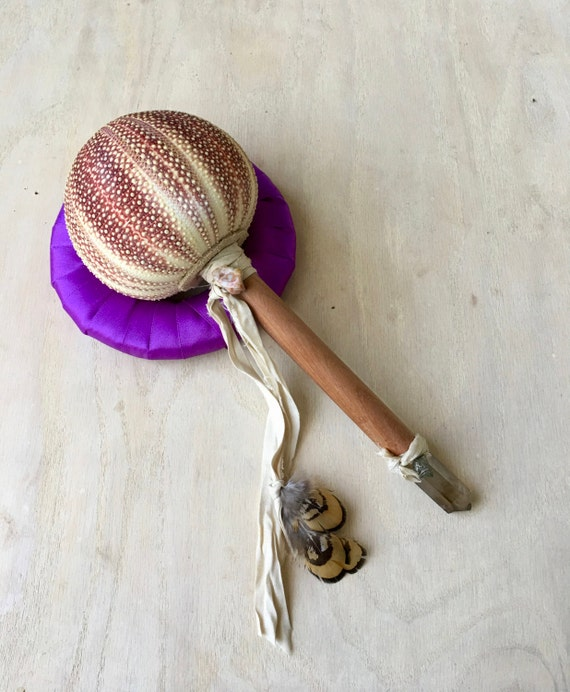 Shamanic Healing Rattle, Bolivian Rose Wood, Sea Urchin, Ocean Jasper, Smoky Quartz Shaker Musical, Energy Healing, Native American, OOAK