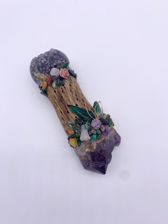 Cholla Cactus, Amethyst, Grape Agate,, Moss Agate, Seraphinite, Emerald, Malachite Garden, Shamanic Healing Wand Magic, Medicine Tool