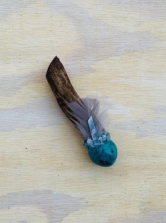 Ayahuasca, Chrysocolla, Blue Kyanite, Blue Lace Agate, Aquamarine Shamanic Healing Wand Magic, OOAK, Healing Tool, Throat Chakra, Psychic