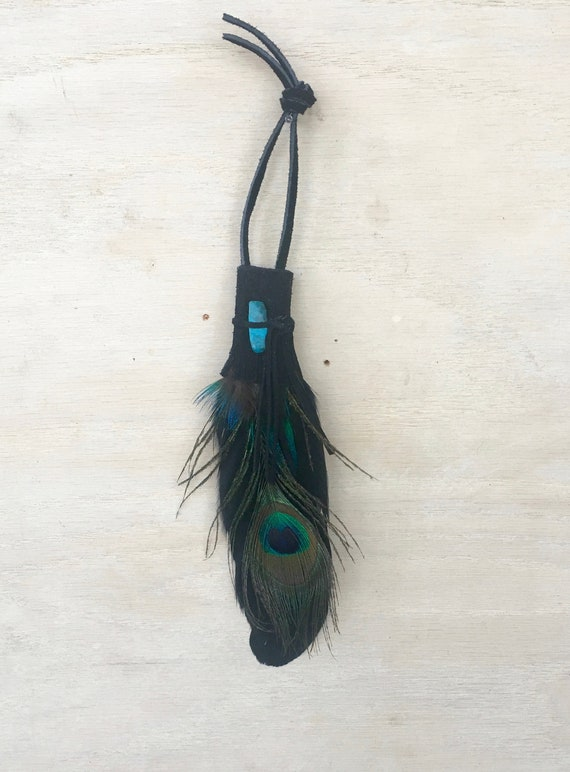 Goose Peacock & Chrysocolla Wall Hanging Clearing, Grounding, Opening Smudge Fan, Native American, Reiki Energy OOAK