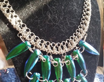 Chainmaille and Jewel Beetle Necklace