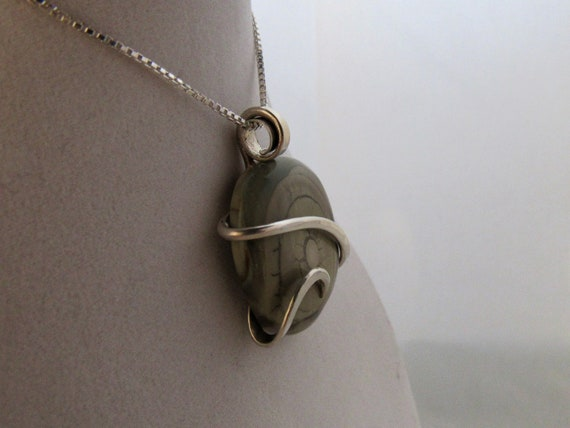 Imperial Jasper Stone Pendant Hand Wrapped in Silver by Isabella Roth