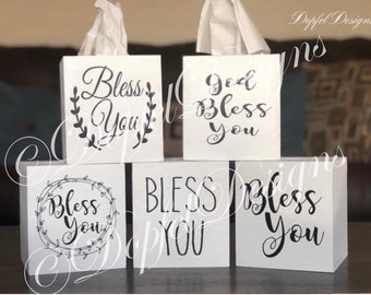 The ORIGINAL & TOP RATED -  Farmhouse Style Wooden Tissue Box Cover - Bless You
