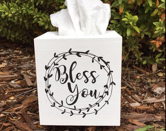 Farmhouse Style Wooden Tissue Box Cover - Bless You