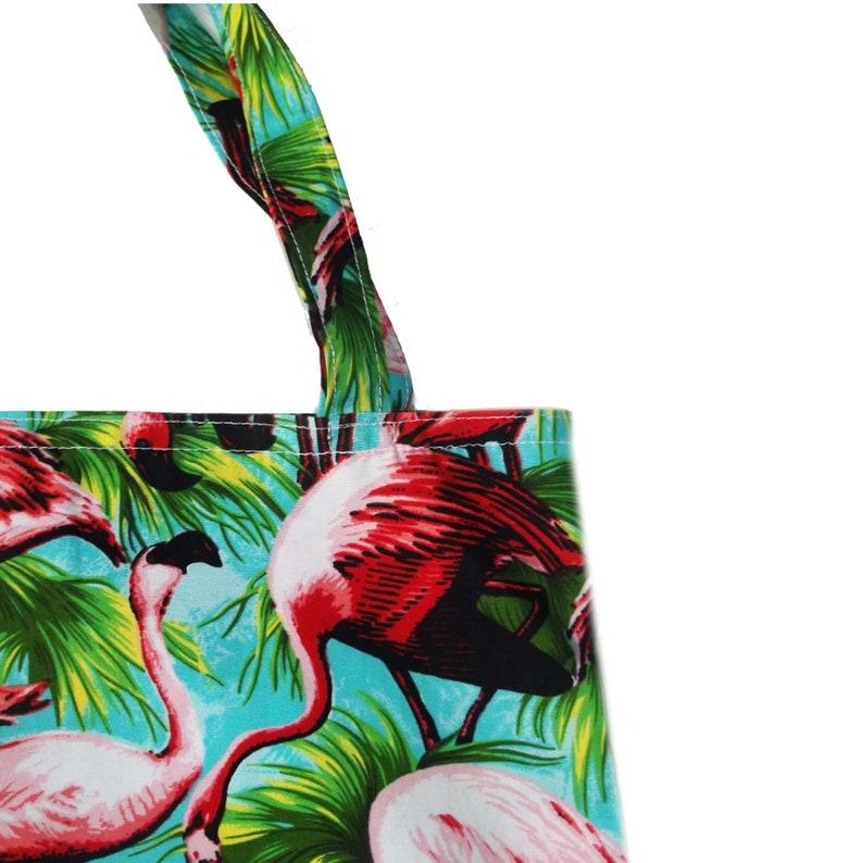 Retro Flamingo or Watermelon Print Tote Bag