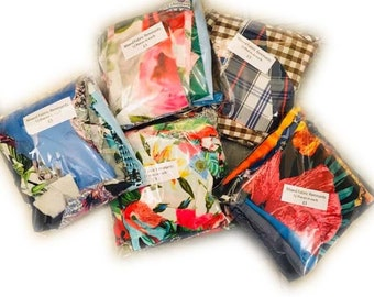 Large Mixed Packs of Fabric Remnants  for Crafting or Upcycling